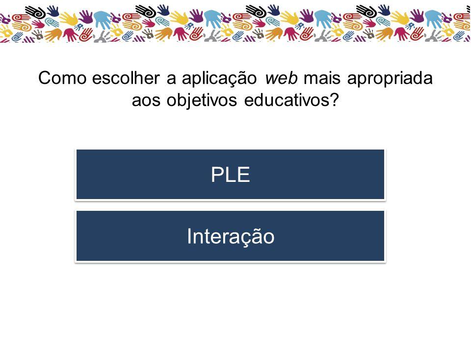 Como escolher a aplicação web mais apropriada aos objetivos educativos? PLE Interação