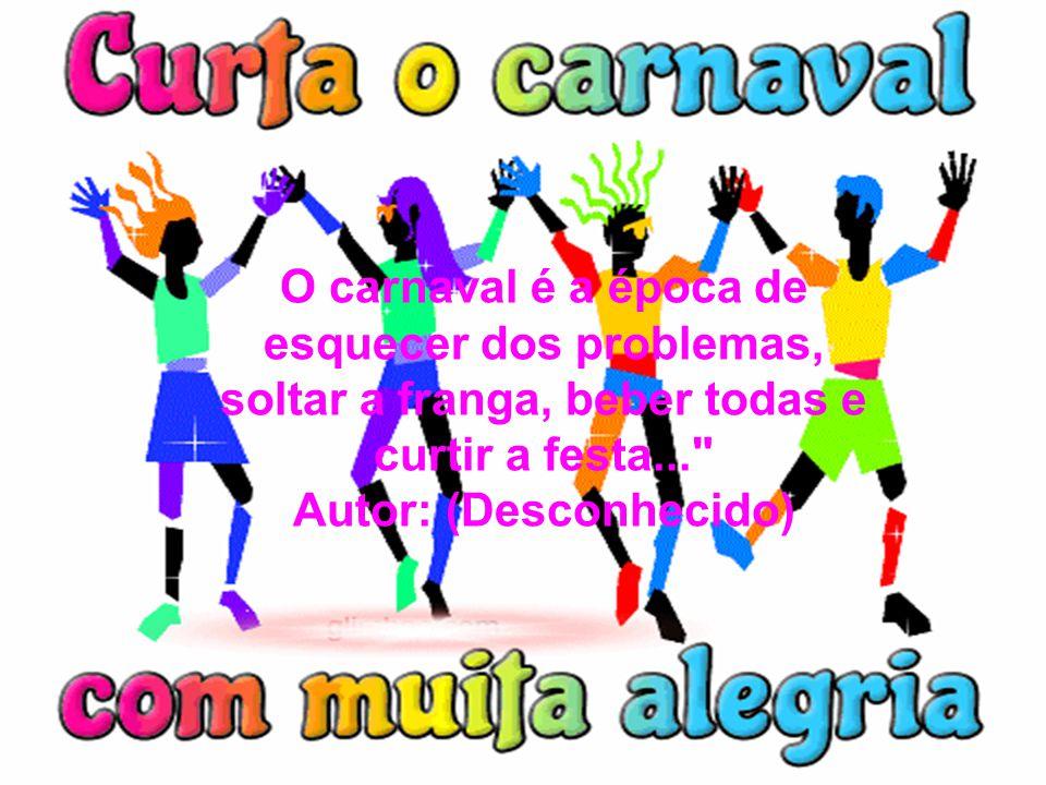 O carnaval é a época de esquecer dos problemas, soltar a franga, beber todas e curtir a festa...