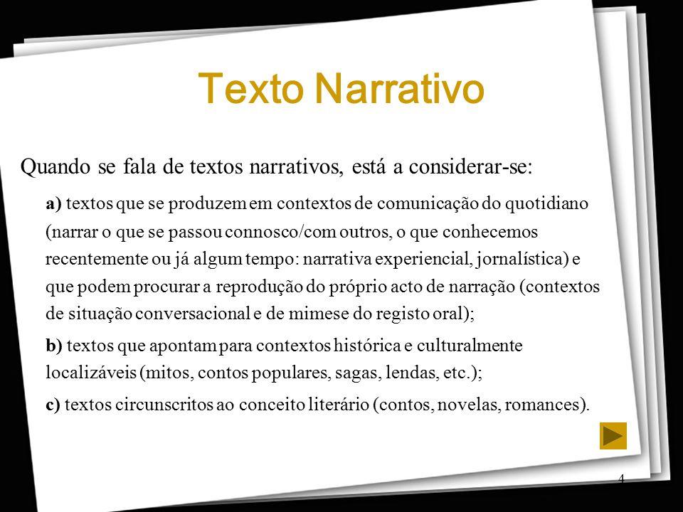 4 Texto Narrativo Quando se fala de textos narrativos, está a considerar-se: a) textos que se produzem em contextos de comunicação do quotidiano (narr