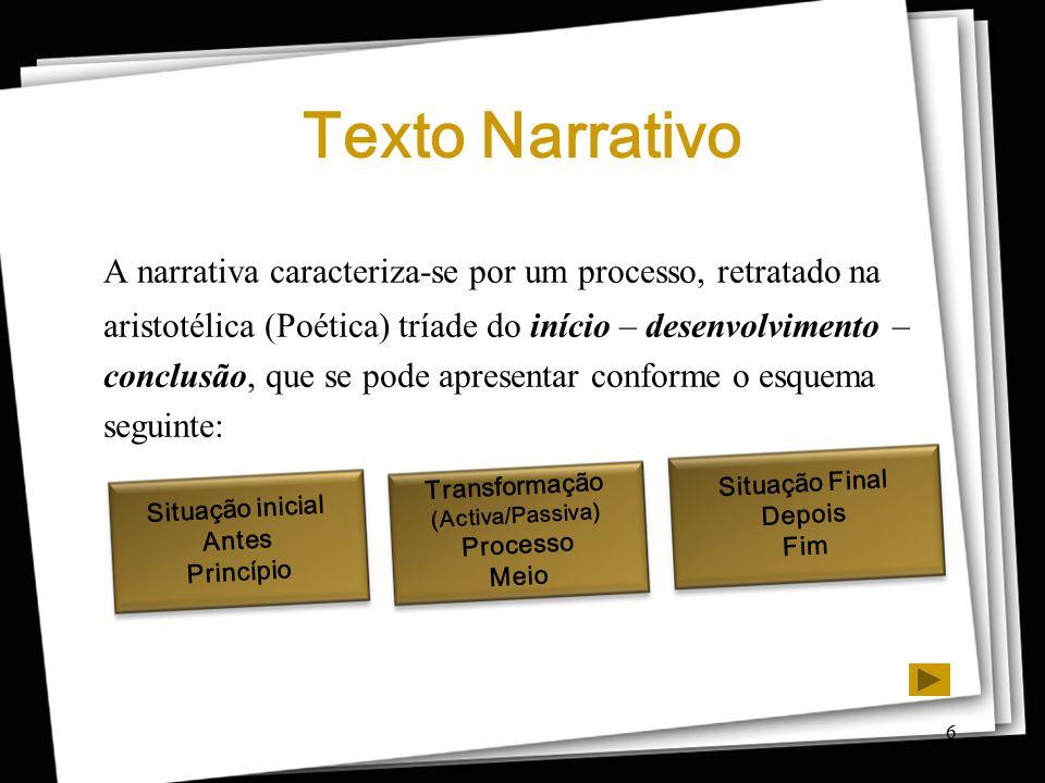 6 Texto Narrativo A narrativa caracteriza-se por um processo, retratado na aristotélica (Poética) tríade do início – desenvolvimento – conclusão, que