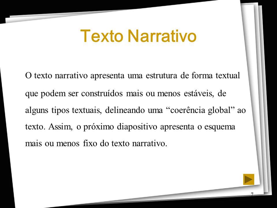 7 Texto Narrativo O texto narrativo apresenta uma estrutura de forma textual que podem ser construídos mais ou menos estáveis, de alguns tipos textuai