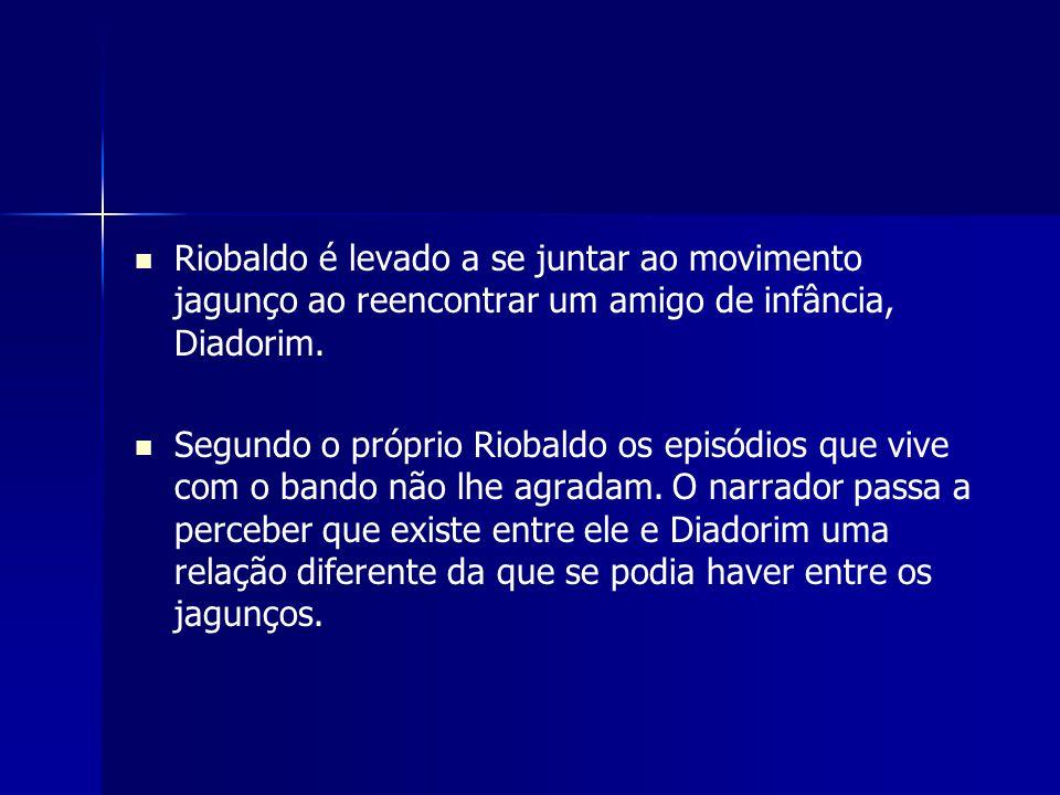 Riobaldo é levado a se juntar ao movimento jagunço ao reencontrar um amigo de infância, Diadorim. Segundo o próprio Riobaldo os episódios que vive com