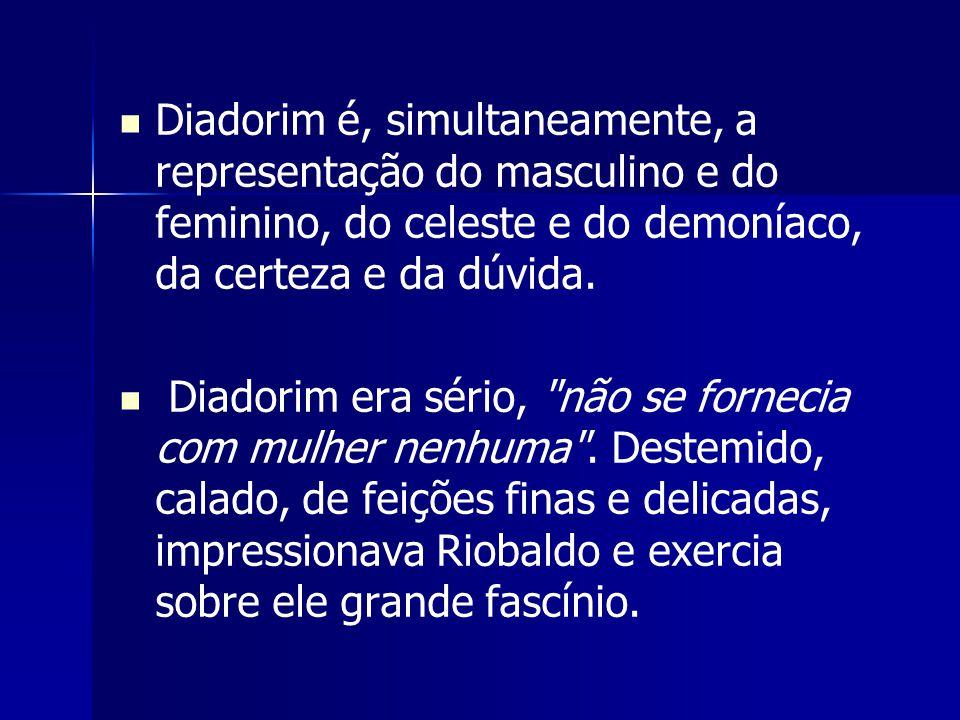 Diadorim é, simultaneamente, a representação do masculino e do feminino, do celeste e do demoníaco, da certeza e da dúvida. Diadorim era sério,