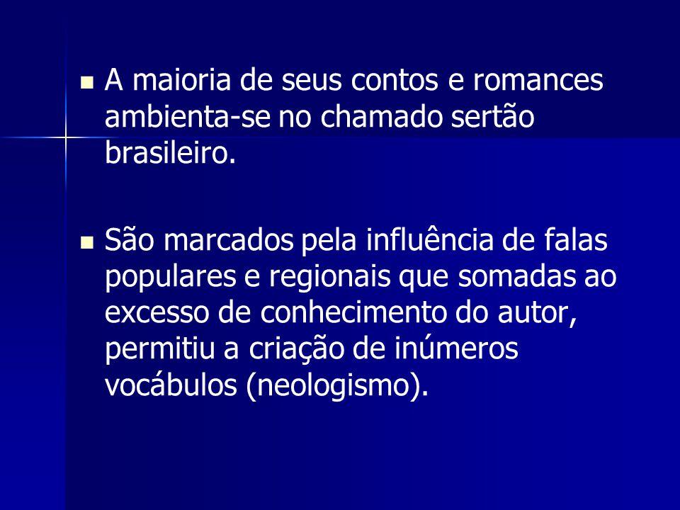 A maioria de seus contos e romances ambienta-se no chamado sertão brasileiro. São marcados pela influência de falas populares e regionais que somadas