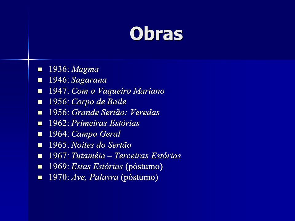 Obras 1936: Magma 1936: Magma 1946: Sagarana 1946: Sagarana 1947: Com o Vaqueiro Mariano 1947: Com o Vaqueiro Mariano 1956: Corpo de Baile 1956: Corpo