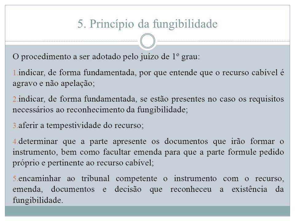 5. Princípio da fungibilidade O procedimento a ser adotado pelo juízo de 1º grau: 1. indicar, de forma fundamentada, por que entende que o recurso cab