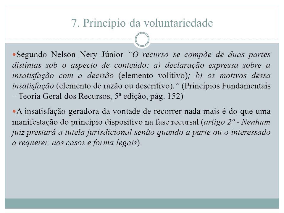 """7. Princípio da voluntariedade Segundo Nelson Nery Júnior """"O recurso se compõe de duas partes distintas sob o aspecto de conteúdo: a) declaração expre"""