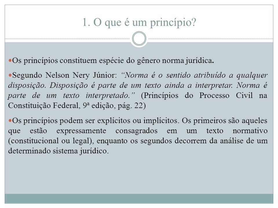 1. O que é um princípio. Os princípios constituem espécie do gênero norma jurídica.