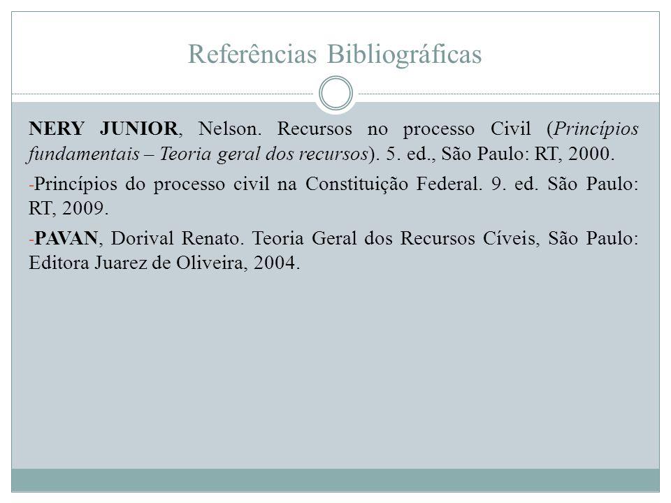 Referências Bibliográficas NERY JUNIOR, Nelson. Recursos no processo Civil (Princípios fundamentais – Teoria geral dos recursos). 5. ed., São Paulo: R