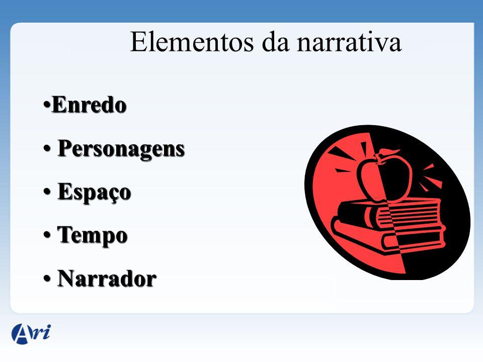 Elementos da narrativa EnredoEnredo Personagens Personagens Espaço Espaço Tempo Tempo Narrador Narrador