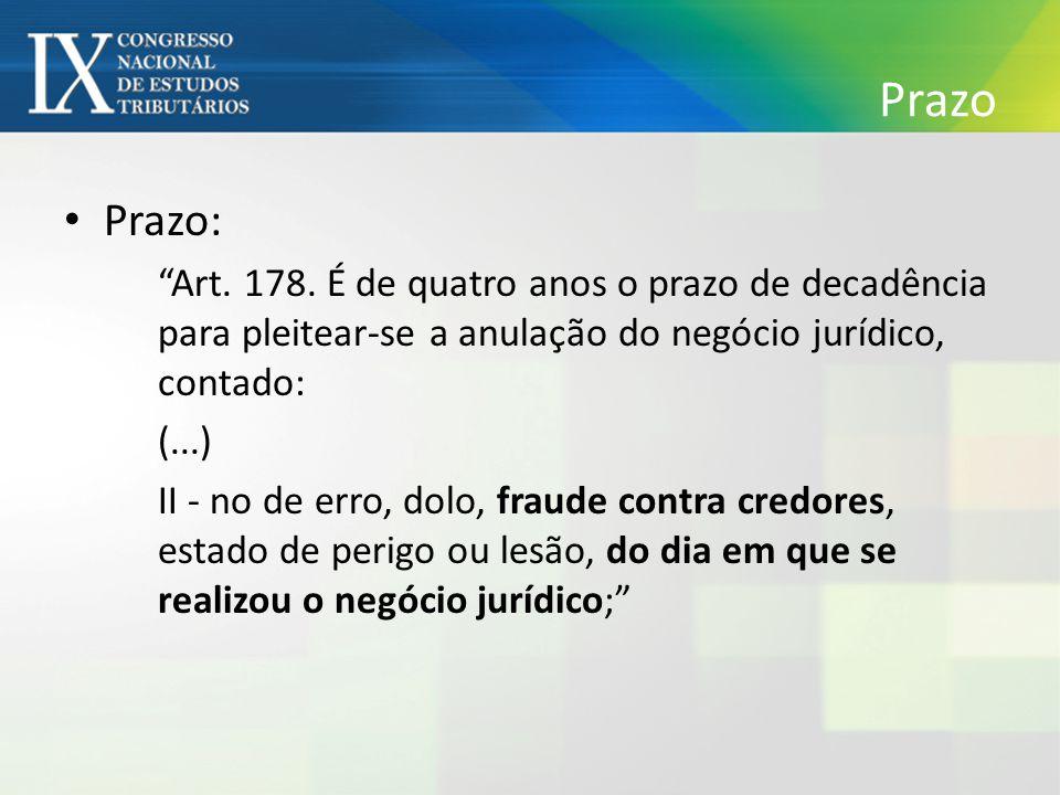 """Prazo Prazo: """"Art. 178. É de quatro anos o prazo de decadência para pleitear-se a anulação do negócio jurídico, contado: (...) II - no de erro, dolo,"""