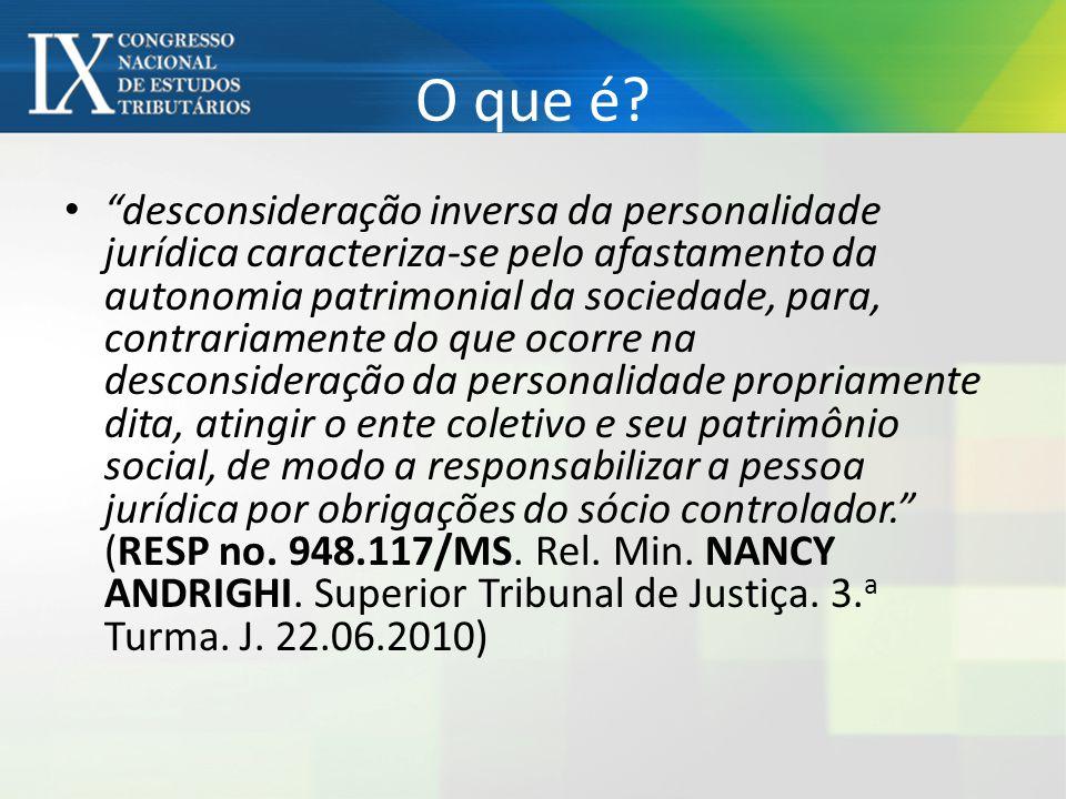 """O que é? """"desconsideração inversa da personalidade jurídica caracteriza-se pelo afastamento da autonomia patrimonial da sociedade, para, contrariament"""