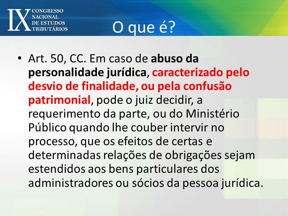 O que é? Art. 50, CC. Em caso de abuso da personalidade jurídica, caracterizado pelo desvio de finalidade, ou pela confusão patrimonial, pode o juiz d