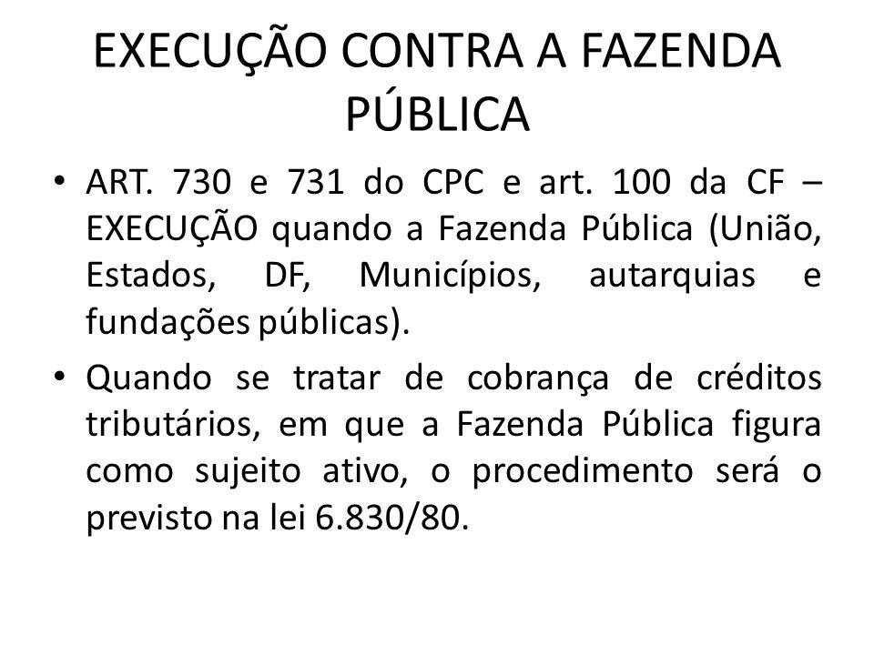EXECUÇÃO CONTRA A FAZENDA PÚBLICA ART.730 e 731 do CPC e art.
