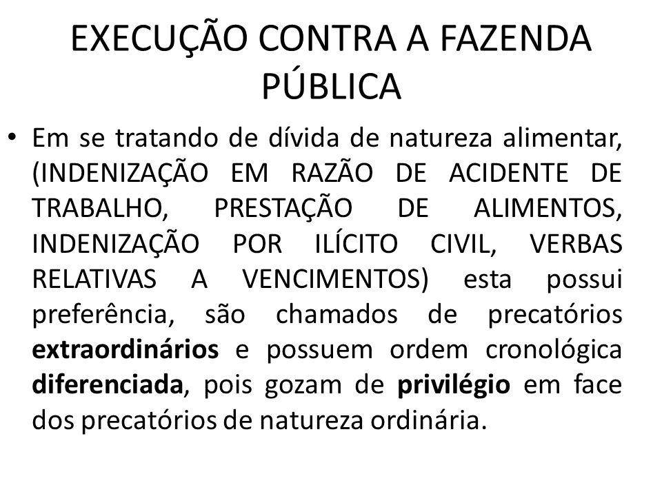 EXECUÇÃO CONTRA A FAZENDA PÚBLICA Em se tratando de dívida de natureza alimentar, (INDENIZAÇÃO EM RAZÃO DE ACIDENTE DE TRABALHO, PRESTAÇÃO DE ALIMENTO
