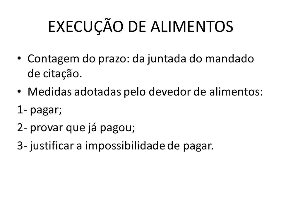 EXECUÇÃO DE ALIMENTOS Contagem do prazo: da juntada do mandado de citação.