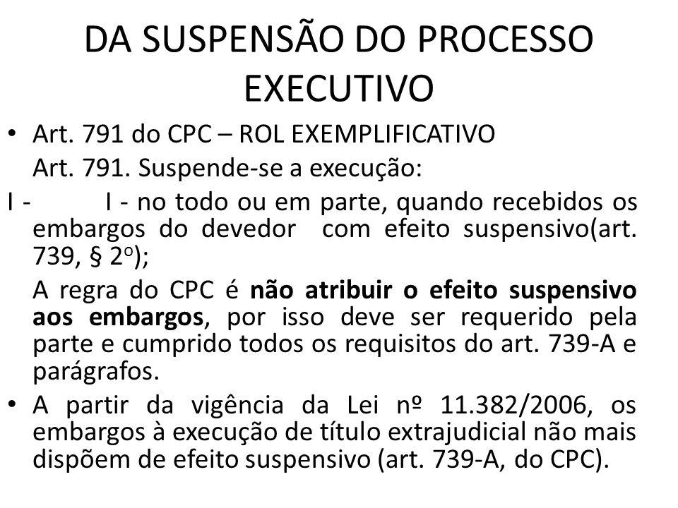 DA SUSPENSÃO DO PROCESSO EXECUTIVO Art. 791 do CPC – ROL EXEMPLIFICATIVO Art. 791. Suspende-se a execução: I - I - no todo ou em parte, quando recebid