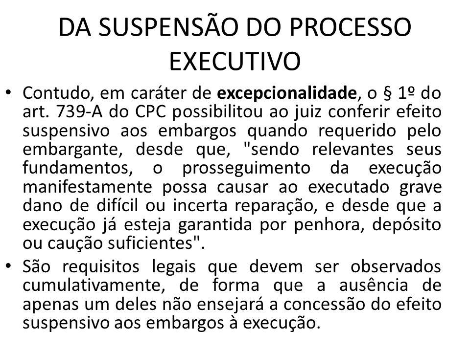 DA SUSPENSÃO DO PROCESSO EXECUTIVO Contudo, em caráter de excepcionalidade, o § 1º do art. 739-A do CPC possibilitou ao juiz conferir efeito suspensiv
