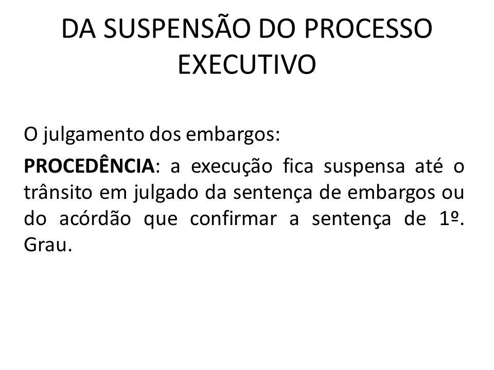 DA SUSPENSÃO DO PROCESSO EXECUTIVO O julgamento dos embargos: PROCEDÊNCIA: a execução fica suspensa até o trânsito em julgado da sentença de embargos ou do acórdão que confirmar a sentença de 1º.