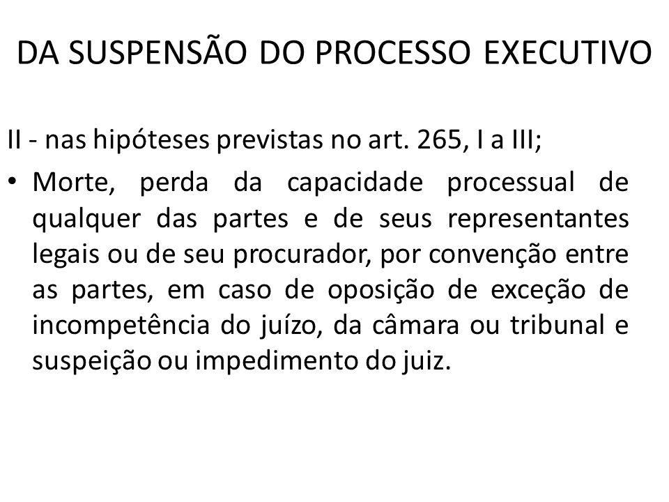 DA SUSPENSÃO DO PROCESSO EXECUTIVO II - nas hipóteses previstas no art. 265, I a III; Morte, perda da capacidade processual de qualquer das partes e d