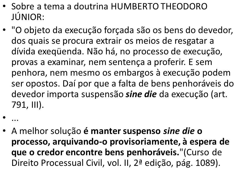 Sobre a tema a doutrina HUMBERTO THEODORO JÚNIOR: O objeto da execução forçada são os bens do devedor, dos quais se procura extrair os meios de resgatar a dívida exeqüenda.