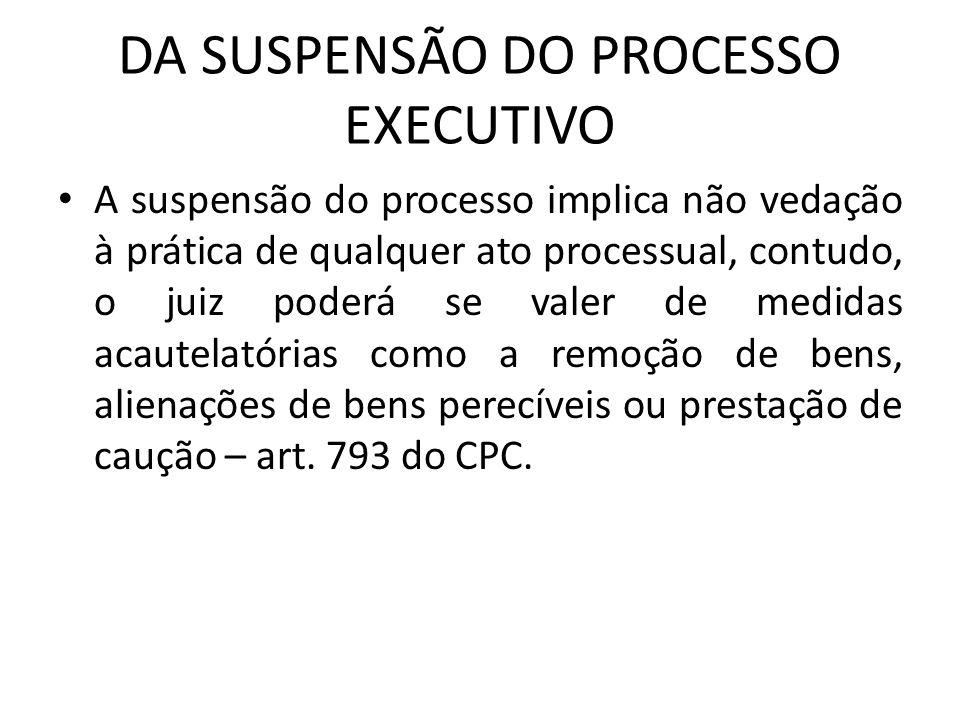DA SUSPENSÃO DO PROCESSO EXECUTIVO A suspensão do processo implica não vedação à prática de qualquer ato processual, contudo, o juiz poderá se valer d