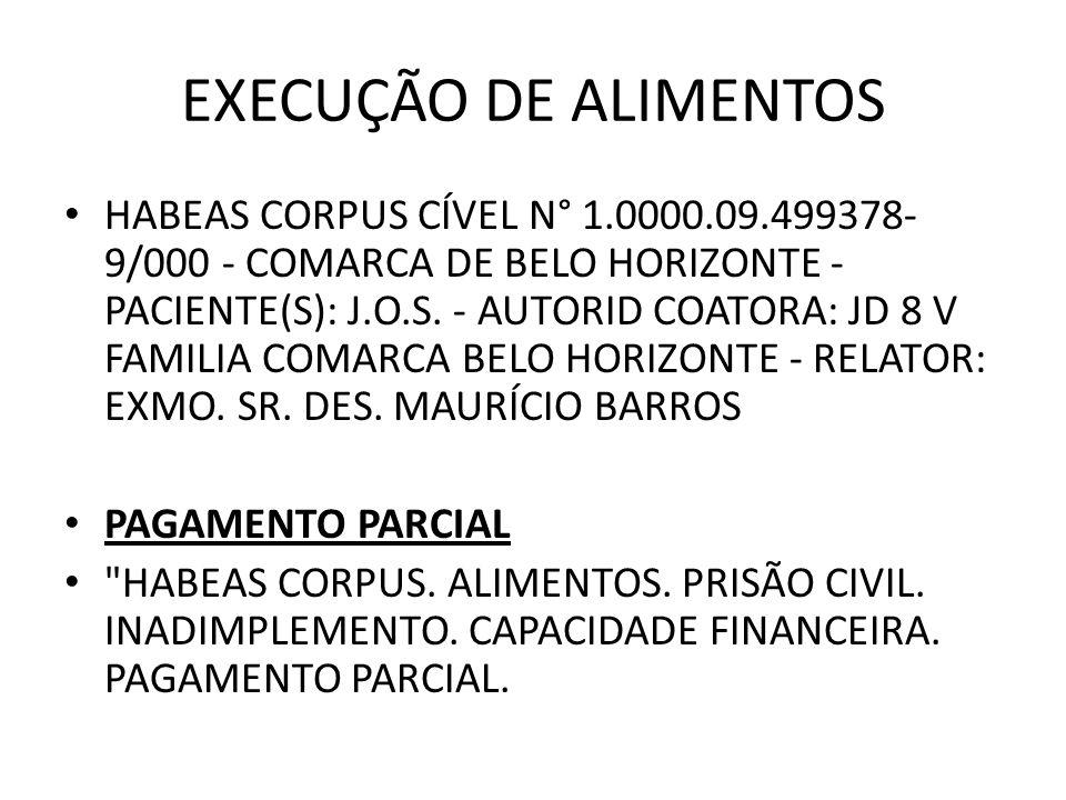 EXECUÇÃO DE ALIMENTOS HABEAS CORPUS CÍVEL N° 1.0000.09.499378- 9/000 - COMARCA DE BELO HORIZONTE - PACIENTE(S): J.O.S. - AUTORID COATORA: JD 8 V FAMIL