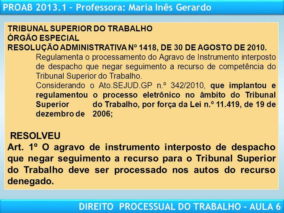RESPONSABILIDADE CIVIL AULA 1 PROAB 2013.1 – Professora: Maria Inês Gerardo DIREITO PROCESSUAL DO TRABALHO – AULA 6 TRIBUNAL SUPERIOR DO TRABALHO ÓRGÃ