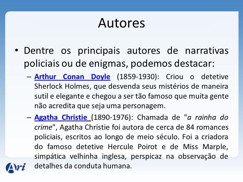 Autores Dentre os principais autores de narrativas policiais ou de enigmas, podemos destacar: – Arthur Conan Doyle (1859-1930): Criou o detetive Sherl