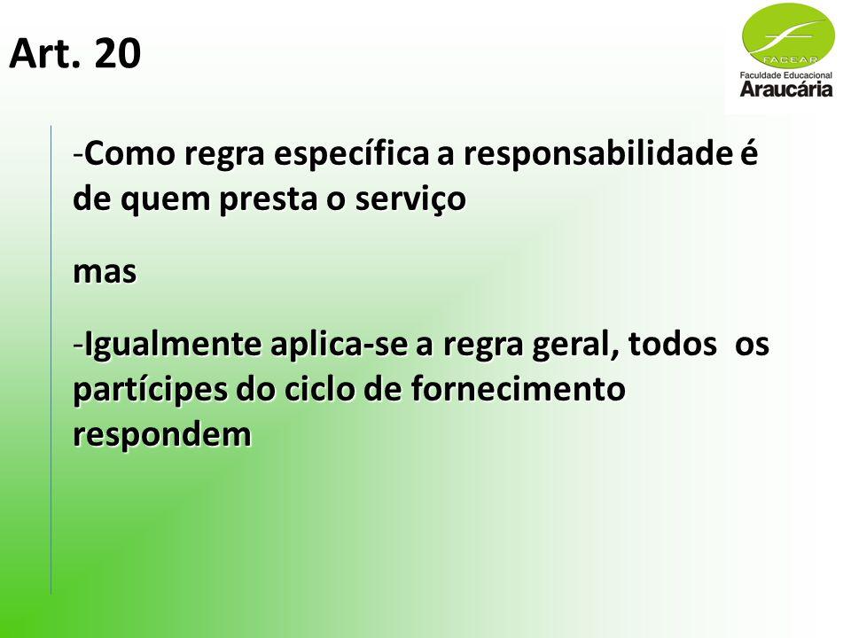 Art. 20 -Como regra específica a responsabilidade é de quem presta o serviço mas -Igualmente aplica-se a regra geral, todos os partícipes do ciclo de