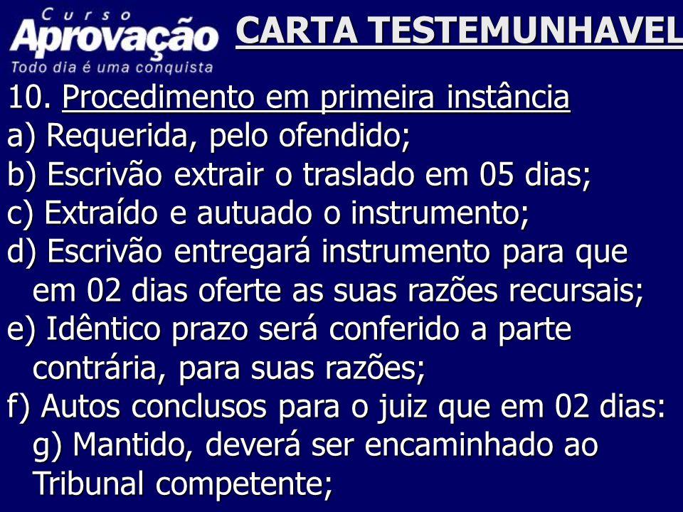 CARTA TESTEMUNHAVEL 10. Procedimento em primeira instância a) Requerida, pelo ofendido; b) Escrivão extrair o traslado em 05 dias; c) Extraído e autua