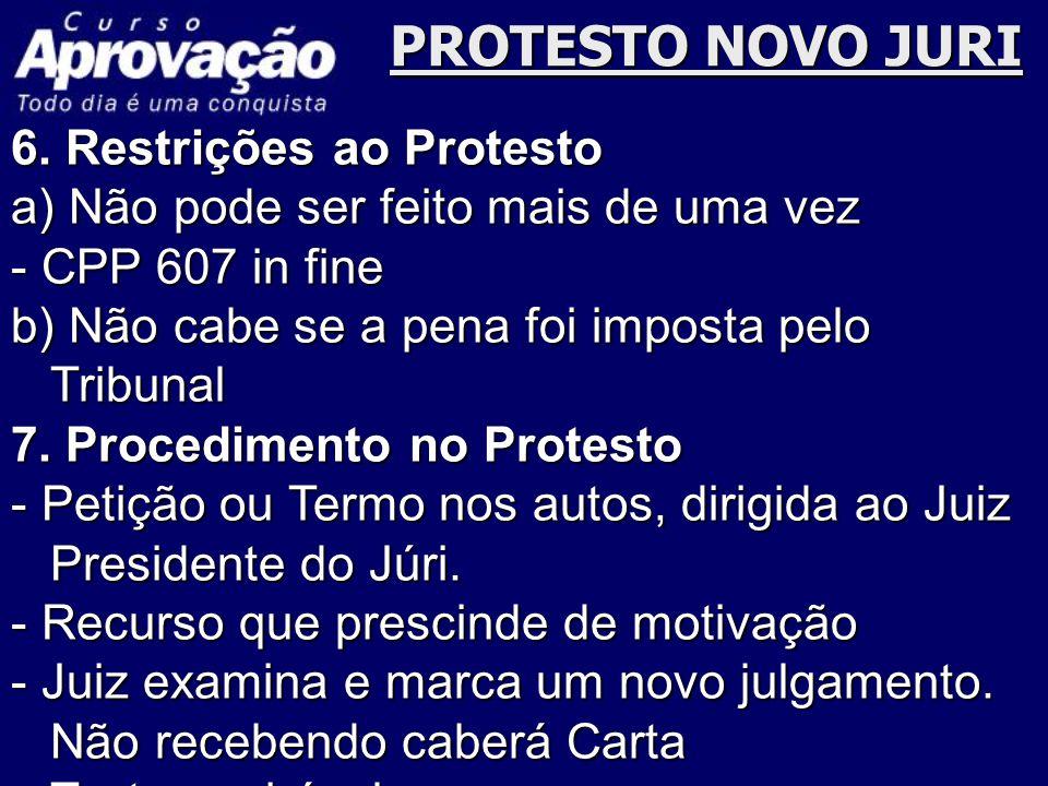 PROTESTO NOVO JURI 6. Restrições ao Protesto a) Não pode ser feito mais de uma vez - CPP 607 in fine b) Não cabe se a pena foi imposta pelo Tribunal 7