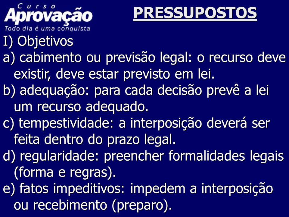 PRESSUPOSTOS I) Objetivos a) cabimento ou previsão legal: o recurso deve existir, deve estar previsto em lei. b) adequação: para cada decisão prevê a