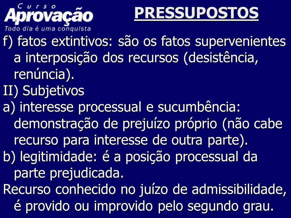 PRESSUPOSTOS f) fatos extintivos: são os fatos supervenientes a interposição dos recursos (desistência, renúncia). II) Subjetivos a) interesse process