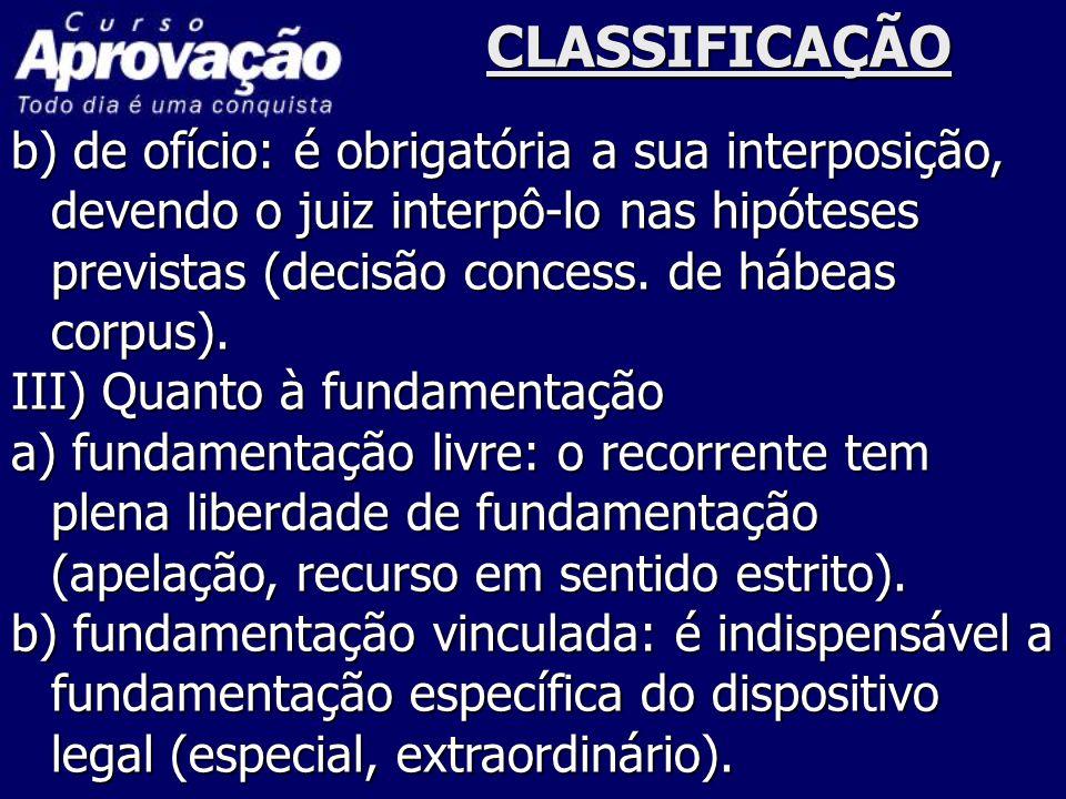 CLASSIFICAÇÃO b) de ofício: é obrigatória a sua interposição, devendo o juiz interpô-lo nas hipóteses previstas (decisão concess. de hábeas corpus). I