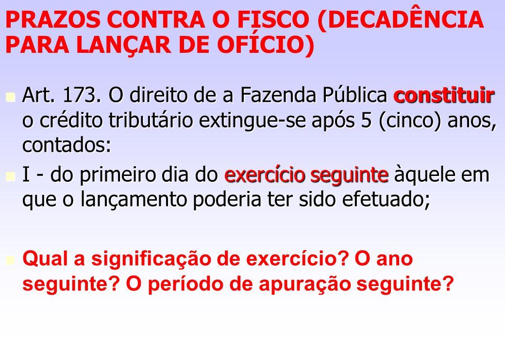 PRAZOS CONTRA O FISCO (DECADÊNCIA PARA LANÇAR DE OFÍCIO) Art. 173. O direito de a Fazenda Pública constituir o crédito tributário extingue-se após 5 (