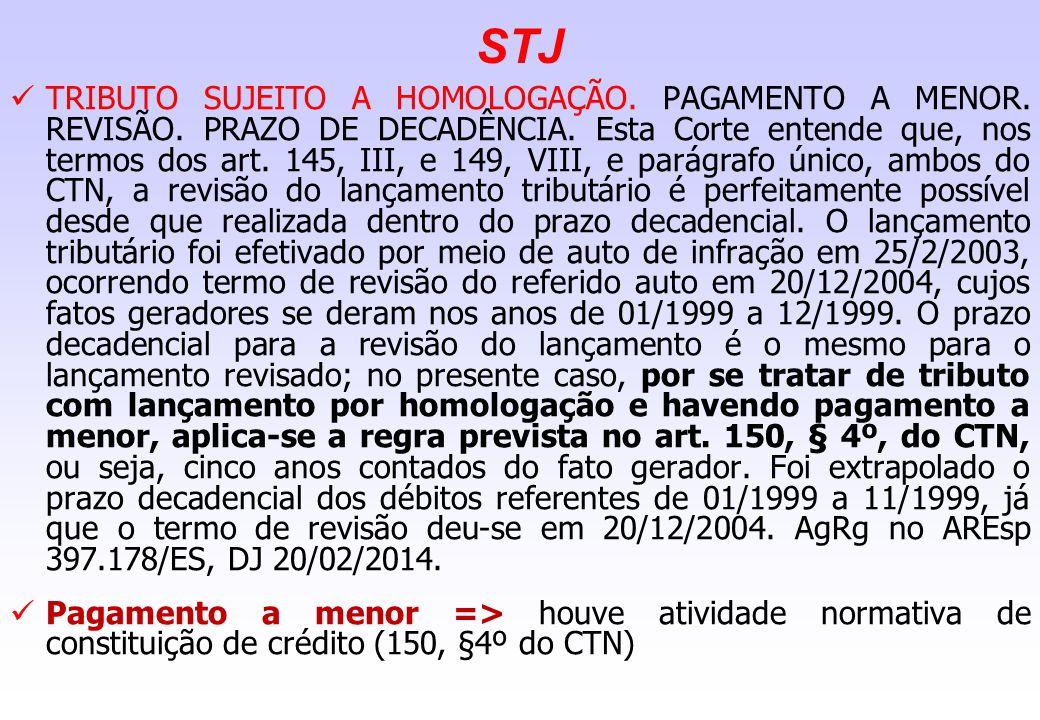 STJ TRIBUTO SUJEITO A HOMOLOGAÇÃO. PAGAMENTO A MENOR. REVISÃO. PRAZO DE DECADÊNCIA. Esta Corte entende que, nos termos dos art. 145, III, e 149, VIII,