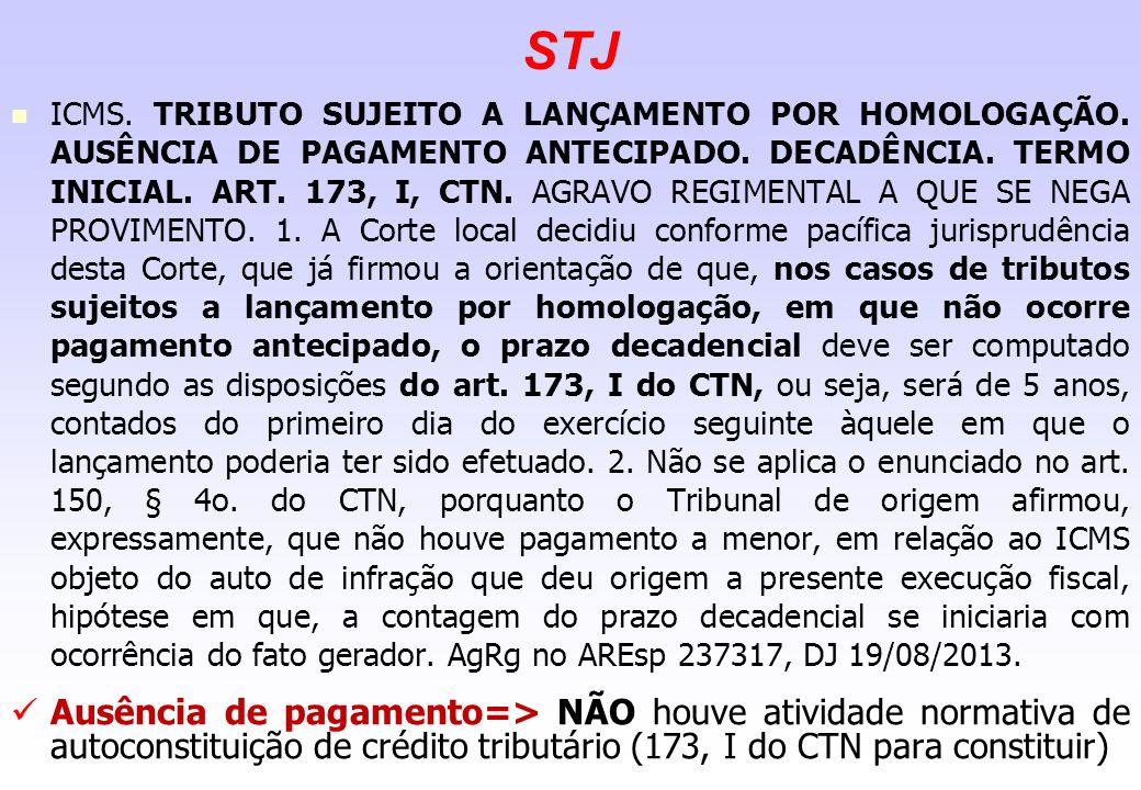 STJ ICMS. TRIBUTO SUJEITO A LANÇAMENTO POR HOMOLOGAÇÃO. AUSÊNCIA DE PAGAMENTO ANTECIPADO. DECADÊNCIA. TERMO INICIAL. ART. 173, I, CTN. AGRAVO REGIMENT