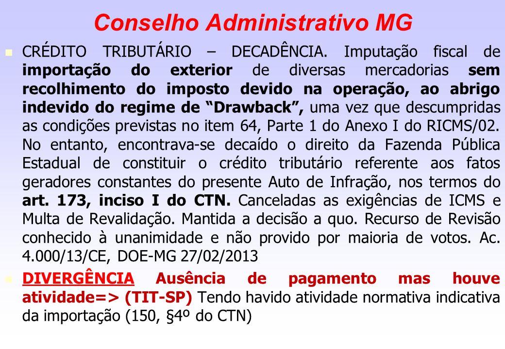 Conselho Administrativo MG CRÉDITO TRIBUTÁRIO – DECADÊNCIA. Imputação fiscal de importação do exterior de diversas mercadorias sem recolhimento do imp