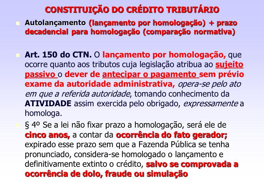 CONSTITUIÇÃO DO CRÉDITO TRIBUTÁRIO Autolançamento (lançamento por homologação) + prazo decadencial para homologação (comparação normativa) Autolançame
