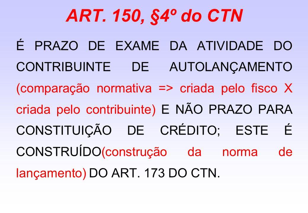 ART. 150, §4º do CTN É PRAZO DE EXAME DA ATIVIDADE DO CONTRIBUINTE DE AUTOLANÇAMENTO (comparação normativa => criada pelo fisco X criada pelo contribu