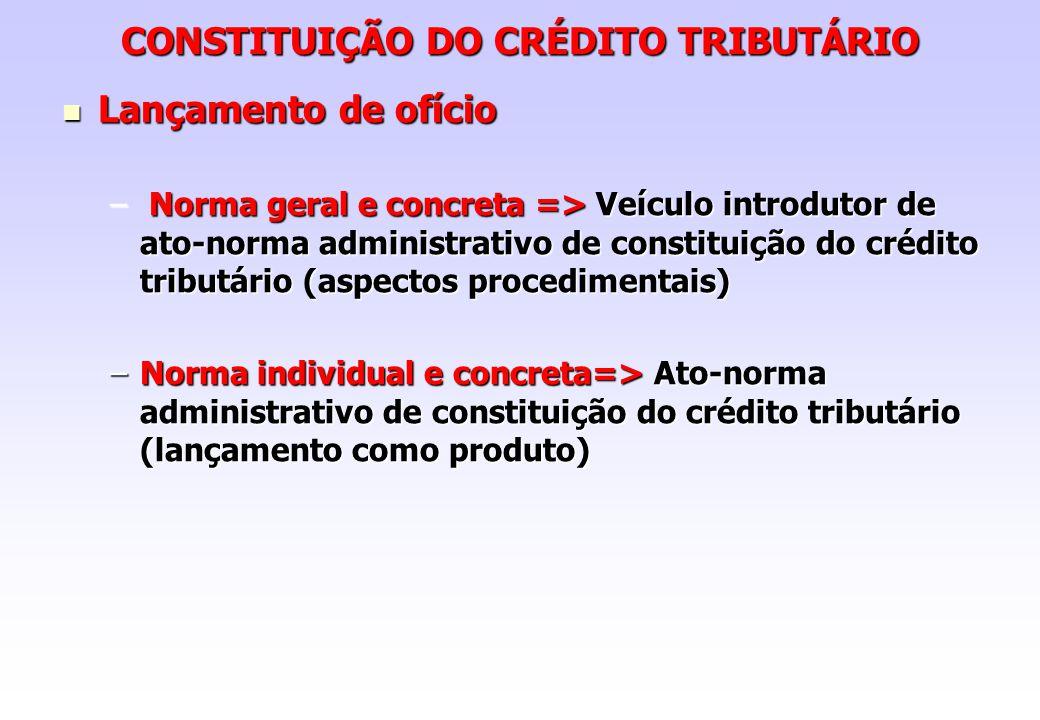CONSTITUIÇÃO DO CRÉDITO TRIBUTÁRIO Lançamento de ofício Lançamento de ofício – Norma geral e concreta => Veículo introdutor de ato-norma administrativ