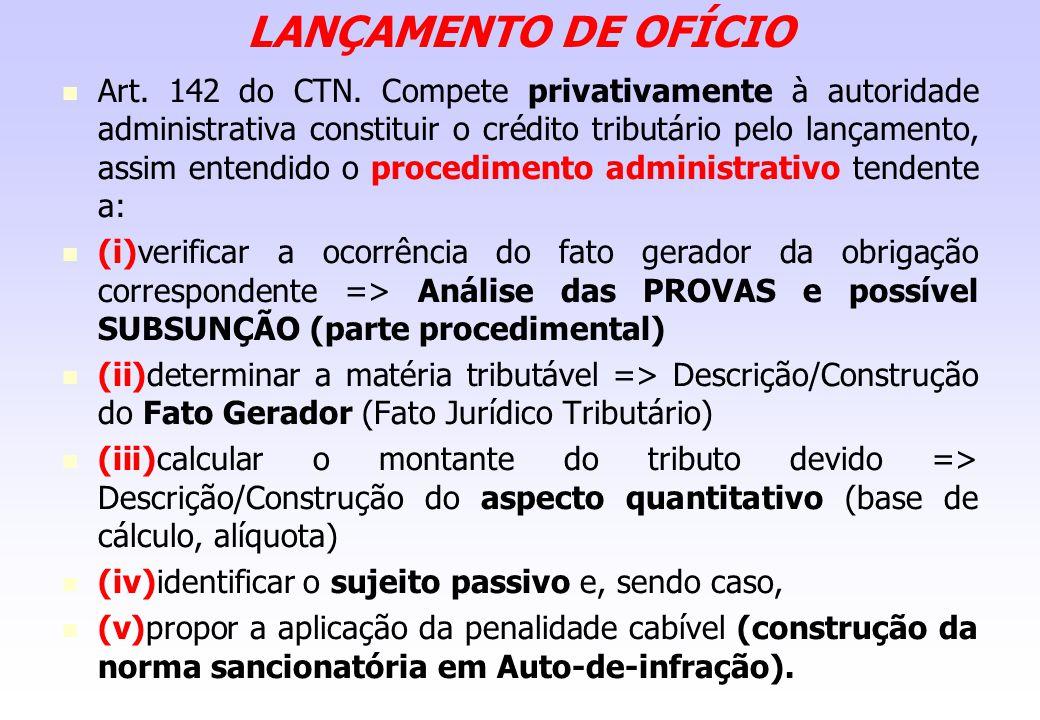 LANÇAMENTO DE OFÍCIO Art. 142 do CTN. Compete privativamente à autoridade administrativa constituir o crédito tributário pelo lançamento, assim entend