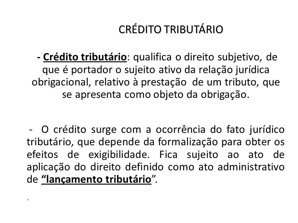 CRÉDITO TRIBUTÁRIO - Crédito tributário: qualifica o direito subjetivo, de que é portador o sujeito ativo da relação jurídica obrigacional, relativo à prestação de um tributo, que se apresenta como objeto da obrigação.