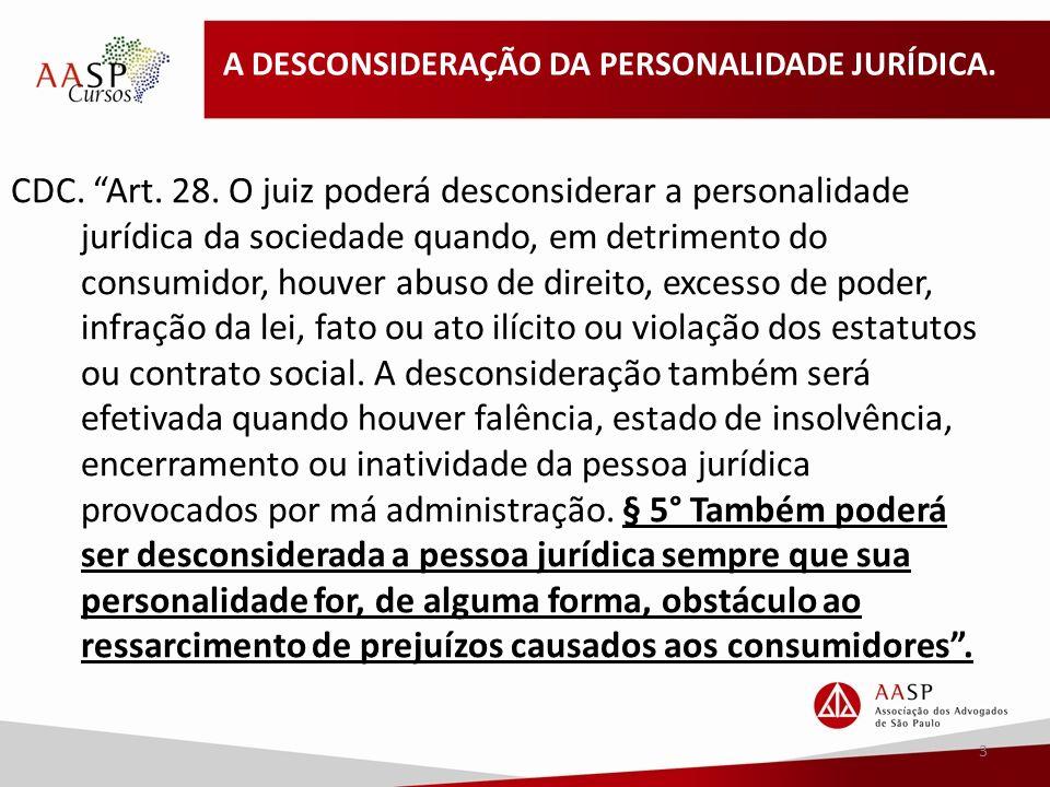 A DESCONSIDERAÇÃO DA PERSONALIDADE JURÍDICA.CDC. Art.