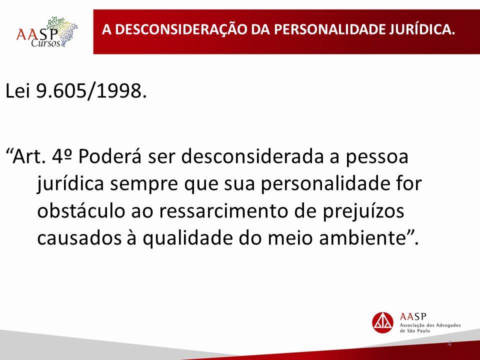 A DESCONSIDERAÇÃO DA PERSONALIDADE JURÍDICA.Lei 9.605/1998.