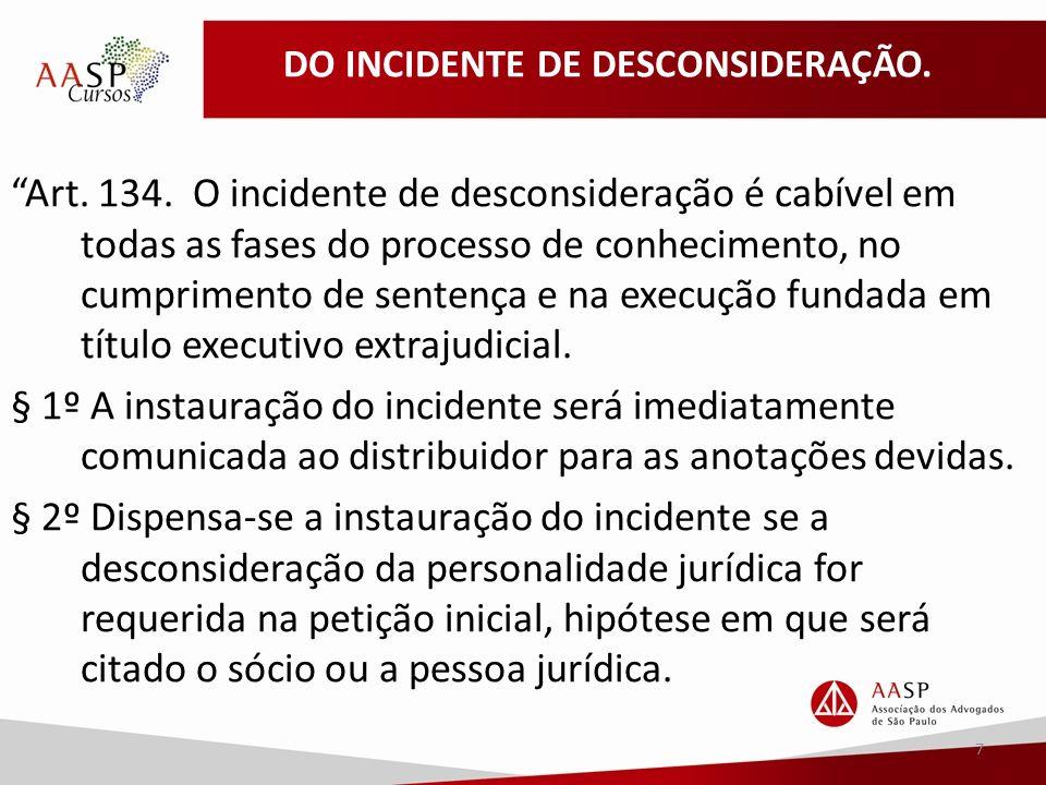 DO INCIDENTE DE DESCONSIDERAÇÃO. Art. 134.
