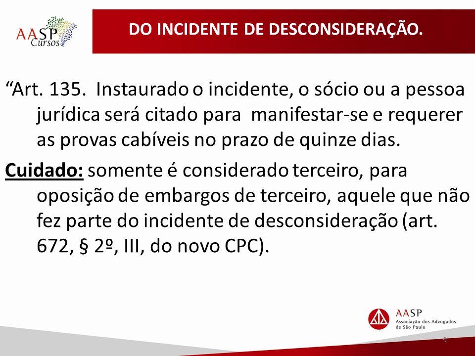 DO INCIDENTE DE DESCONSIDERAÇÃO. Art. 135.