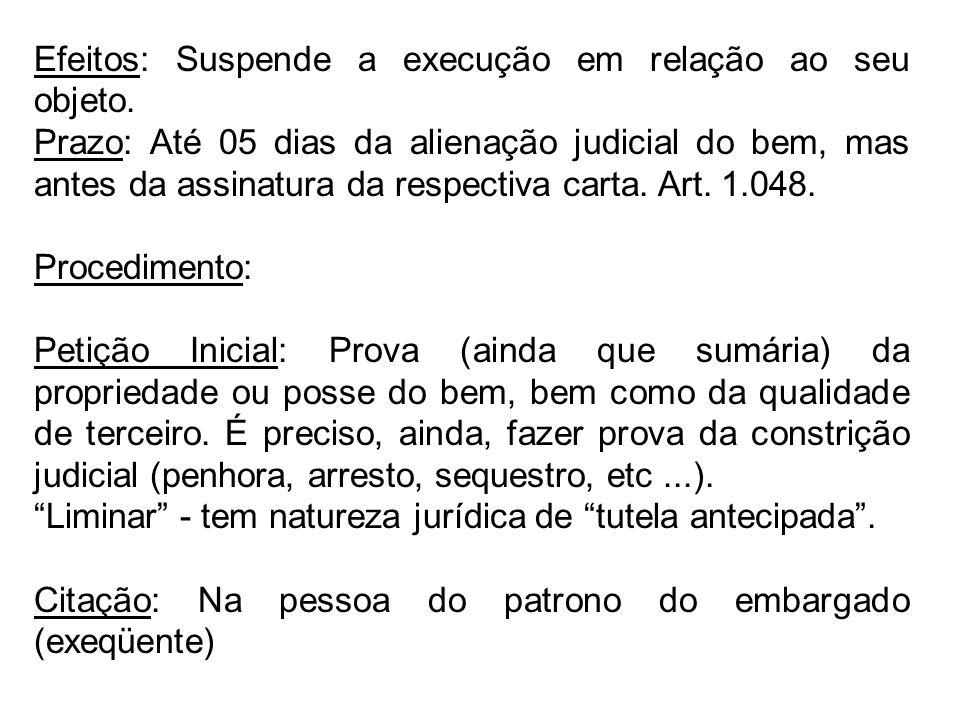 Efeitos: Suspende a execução em relação ao seu objeto. Prazo: Até 05 dias da alienação judicial do bem, mas antes da assinatura da respectiva carta. A