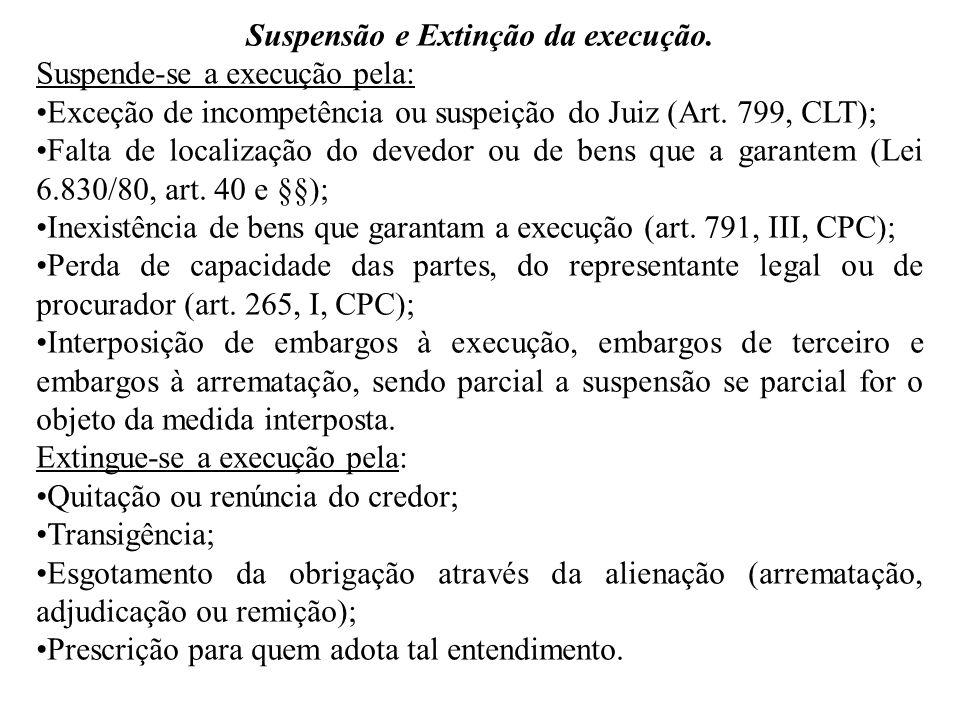 Suspensão e Extinção da execução. Suspende-se a execução pela: Exceção de incompetência ou suspeição do Juiz (Art. 799, CLT); Falta de localização do
